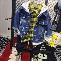 Kore Moda Bebek Erkek Denim Ceketler Marka Yeni çocuk Kapüşonlu Mont Toddler Dış Giyim Çocuk Erkek Rahat Kovboy Ceket Dış Giyim 201126