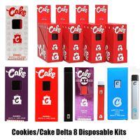 쿠키 케이크 XL Opus Delta 8 일회용 스타터 키트 전자 담배 Device1ml 용량 빈 포드 충전식 vape 펜 300mAh 배터리 두꺼운 오일 OEM 9 10 VS Bar Plus XXL