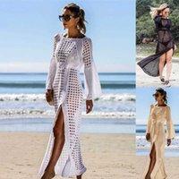 Túnica de ganchillo Vestido de playa Cubiertas de verano Mujeres Playa Ropa de playa Sexy hueco en traje de baño de punto Cubre Robe de Plage 210527