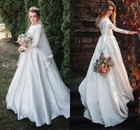 Simple Satin A-Line Wedding Dresses Backless Ruched Bridal Gowns Sweep Train Plus Size robes de soiree