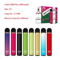 AOKIT OMI PLUS Sigaretta Dispositivo di pod monouso Device Vape Pen Kit 5.3ml 1600 Sfuffs 800mAh 8 Opzioni