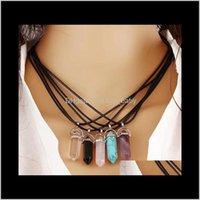 Natürliche Stein Halskette für Frauen Luxus Designer Bunte Steine Anhänger Böhmischen Vintag Schmuck Geschenk 6 Ujce3 OC1GF