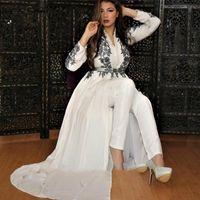 Muslim Evening Dress 2021 Dubai White Long Sleeve Jumpsuit Prom Dresses pant suit Overskirt Train Arabic Moroccan Robe De Soirée