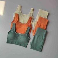 2pcs Seamless Yoga Set Women Female Crop Top Bra High Waist Leggings Fitness Suit Workout Outfit Sport Gym Wear Clothing