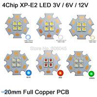 Bulbs 10pcs Cree XPE2 XP-E2 3V 6V 12V 4Chips High Power LED Emitter Cool White Warm Neutral Red Colors On 20mm Copper PCB