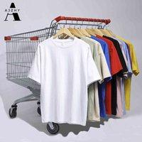Ajzhy Slim Slim Fit Homens Camisetas Manga Curta Manga Coreana Hip Hop Oversized Homem T-shirts Streetwear dos homens camisetas Homens Roupas Y0323