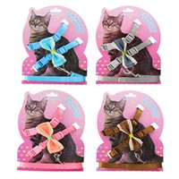 Cat Collars & Leads Bow Knot Harness Leash Set Dog Nylon Adjustable Belt Halter Collar Clasp Puppy Safety Traction Rope Kitten Training Walk
