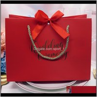 High-Quality Gifts Bow Gift Bag Portable Paper Bag Wedding Supplies Tote Bag Wrapping Paper Bags With Handle Lx1026 Rqx89 Ouswr