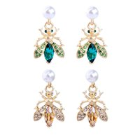 Dangle & Chandelier BALANBIU Cute Gold Color Insect Bees Drop Earrings For Women Party Gifts Crystal Acrylic Pearl Earring Fashion Accessory
