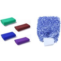 Car Sponge 4 Pcs Microfiber Cleaning Cloth Drying Towel & 1 Glove Wash Gloves Maximum Absorbancy