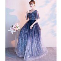Starry Sky Evening Dress 2021 Dream Wedding Long Banquet Elegant Adult Simple V-neck Short Sleeve Formal Gowns Vestido Ethnic Clothing