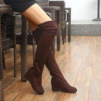 2021 Sexy Slim Fit Упругостия стада на колене сапоги женские туфли осень зима сексуальные дамы на высоком каблуке клинья длинные бедра высокие ботас