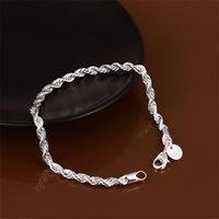 100% Nueva Pulsera de cadena de cuerda torcida de plata de 8 pulgadas de 8 pulgadas de alta calidad 10pcs / lot 92 R2