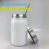 Almacén de EE. UU. Sublimación Mason Jar Taza de acero inoxidable Taza de café de acero inoxidable 500 ml / 17oz Aislamiento de calor portátil Tumber Botella a prueba de polvo con párpado de metal Entrega local