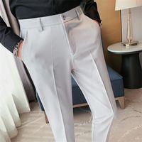 Men's Suits & Blazers 2021 Autumn Business Dress Pant Solid Slim Ankle Length Office Social Suit Pants Wedding Streetwear Casual Trousers