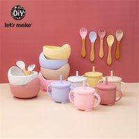 Hagamos 4 unids / set Silicone Bowl CUP CUPO CUPINACIÓN FORK SET BABY PERSIONES ANTERIOR BPA Free Food Food Weatware Productos de regalo del bebé 210806