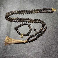 Pendant Necklaces 8mm Natural Smokey Quartz Beaded Knotted Mala Necklace Meditation Yoga Healing Jewelry Bracelet Set 108 Japamala Lotus Ros