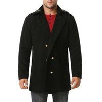 Ricamo oro britannico stile peacoat uomo marca doppio petto uomo nero lungo trincea lana cappotto invernale soprabito a vento giacka 2xL Jacke maschile