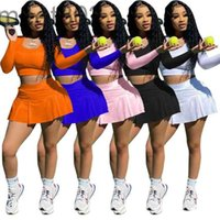 2021 Womens Tracksuits Two Peices Set Designer Tennis Slim Sexy Spring Fall Yoga Sports Clothing Long Sleeve Crop Top Shorts Skirt Jogging 3332