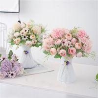 Decorative Flowers & Wreaths Fake Peony Bridal Hand Flower Roses Wedding Decor Hydrangea Artificial Bouquet Silk Blooming Peonies