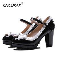 Kncokar 봄 두꺼운 여성의 신발 라운드 헤드와 함께 활 - 넥타이 싱글 34-48 210610