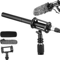 تجمع مقابلة Sgun Microphone XLR لكانون، نيكون، سوني بويا BY-BY-BM6060 بث ميكروفونات ذات جودة عالية مع ميكروفونات الزجاج الأمامي