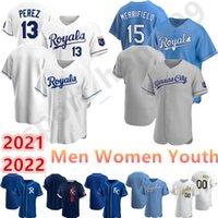 2021 Personalizado 15 Whit Merrifield 13 Salvador Perez Jersey 16 Andrew Benintendi 38 Anthony Swarzak 21 22 Homens Mulheres Juventude Baseball Camisas