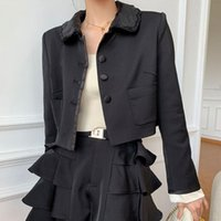 Women's Jackets Womens Regular Fit Long-Sleeve Suit Babydoll Collar Office Lady Solid Color Single-Breasted Cardigan Coat