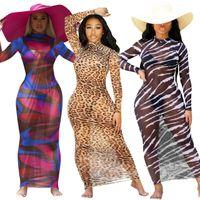 Robes d'été Robe de plage longue de la plage Léopard Print Femme 2021 Multi Stripe Sheer Manches longues à manches longues O Vestidos pour vocation vacances