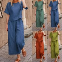 Women's Two Piece Pants Streetwear Fashion Short Sleeve T-shirt Wide Leg Two-piece Summer Outfit Solid Color For Daily Wear