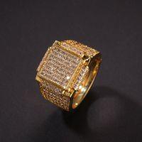 Fashion new luxury designer cubic zirconia diamonds copper exaggerated men women square ring hip hop jewelry