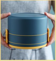 Tragbare Doppelschicht-Lunchbox Frische Farbschüler Lunchbox PP Gesunde Mikrowelle isoliert Mittagessen Container Picknickschule RRE9509