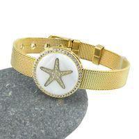 Charm Bracelets Summer Beach Shell Starfish Cubic Zircon Bracelet For Woman Man Stainless Steel Watch Belt Bangle Jewelry Gift