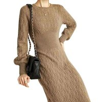 Casual Dresses Knitted Sweater Dress Women Full Sleeve Corset Slim Robes Autumn Solid Pullover Elegant Chic Streetwear Long