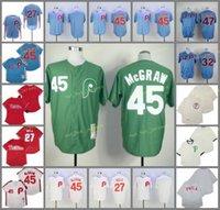 Aposentado 45 Tug McGraw Baseball Jersey 27 Aaron Nola 32 Steve Carlton 47 Andersen 1910 1983 Vintage Retro Cooperstown Malha Costurada Pullover