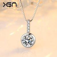 Collana Concetto S925 Sterling Silver Bolla Collana Semplice Single Single Pendant con catena di clavicola rotonda intarsiata di diamante