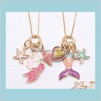 2 цвета дети ювелирные изделия ожерелье русалка морская звезда подвеска девушка длинные цепные ожелления для вечеринки подарок ребенка MATYNI QZ3RF