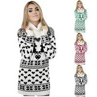 Abiti casual Moda di Natale Donne Delle Donne Delle Donne di lana Round Neck Print Maglione a maniche lunghe a maniche lunghe TreftleNECK 2021