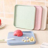 Placa de corte de palha de trigo mofo mini placa antiaderente vegetais desbastados e prato de frutas 3
