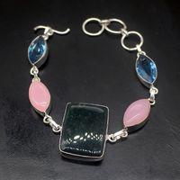 Link, Chain Gemstonefactory Jewelry Big Promotion Single Unique 925 Silver Topaz KAMBABA JASPER Lady Women Charm Bracelet 18-22cm 20210043