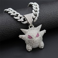 Pendant Necklaces Hip Hop Iced Out Bling Anime Ghost Alloy Gold Silver Color & Necklace For Men Women Jewelry With Cuban Chains