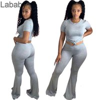 Women Tracksuits Two Piece Set Designer Outfits Bell Pants Tight Short Sleeve Trousers T Shirt Legging Solid Colour Matching Suits 9 Colours