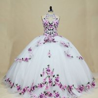 2022 Elegant Lilac Patterned Flowers White Ball Gown Quinceanera Dresses Halter Keyhole Neck Back Beaded Tulle Long Sweet 15 16 Charra Prom Evening Dress