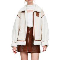 Jaquetas das mulheres Mulheres de inverno grosso vintage splice camurça casaco casaco solto quente lambswool ciclista outwear feminino oversize faux couro de couro