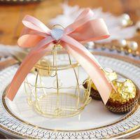 10 unids mini metal oro vintage retro jaula de pájaro cajas de caramelo baby shower favor caja de regalo para los huéspedes fiesta de cumpleaños de cumpleaños envoltura