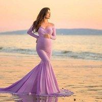 Maternity's Clothing Spring Autumn Women's Long-sleeved V-neck Evening Dresses Mommy Photo Shoot Trailing Long Skirt Fashion Maternity Dress