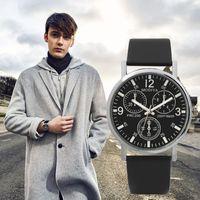 Orologi da polso 2021 Ultra sottile orologio da uomo Tre orologi Eye Horloge uomo quarzo Blue Glass Belt Business WristWatch Montre Pour Homme