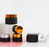 Frascos de vidro fosco preto frascos cosméticos com tampas Goldplastic de Bronze PP Liner 5G 10G 15G 20G 30 50G Bálsamo de Bálsamo Creme DMB5785