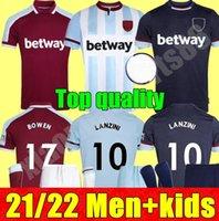 New 21 22 West Soccer Jerseys Ham 2021 2022 UnitedホームアウェイアウェイアウェイアウェイアンドホームアンドホームアントニオフットボールシャツFornalsライスアダルトメンズ+キッズキットP.Fornals Benrahma