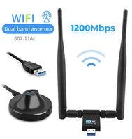 1200Mbps Wireless USB Network Card USB3.0 Dual Band 2.4G&5.8G Wifi Receiver Wireless-AC Adapter for Windows MAC PC Antennas